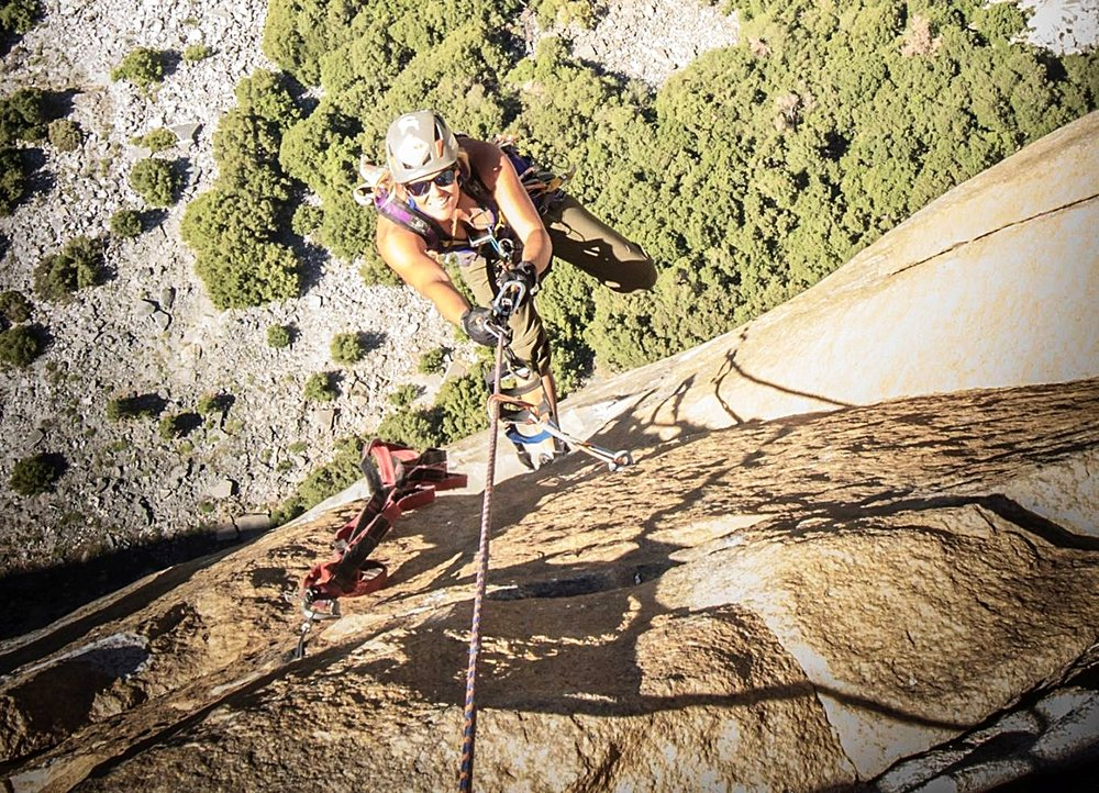Jugging one of the many steep pitches on Tangerine Trip, El Cap.  Photo:  Paul Gagner.
