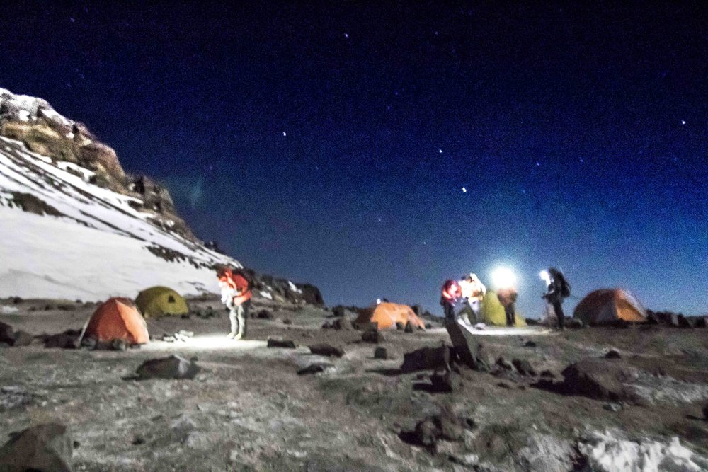 3am summit day preparations at Nido; Libby and Kristina set out together with Gavin Attwood's team from Colorado, but both turned around shortly out of camp.