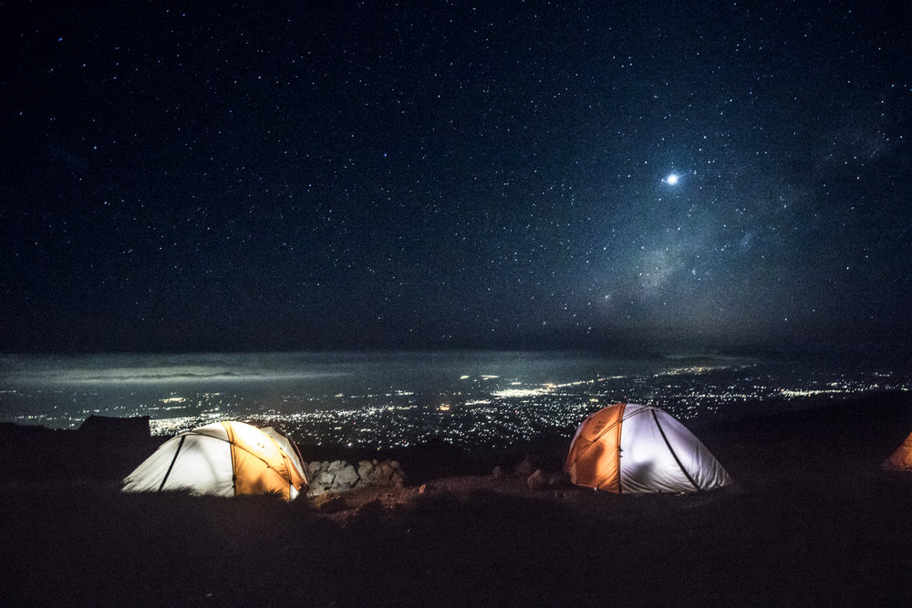 Camp high above the plains of Africa