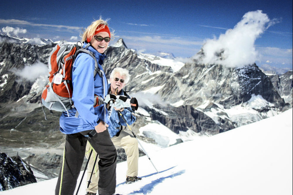 The author's parents on the family's first 14er in the Swiss Alps