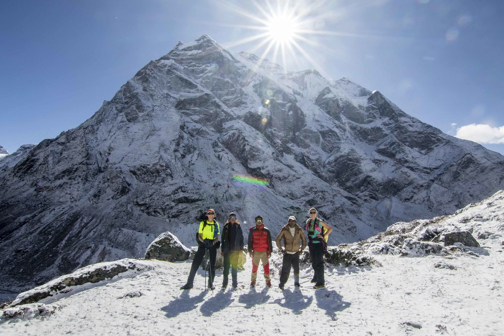 The team in front of Mera Peak (L-R Kat, Geljen, Antarwu, Gishnagiri, Tara; missing Sunny and Mingma)