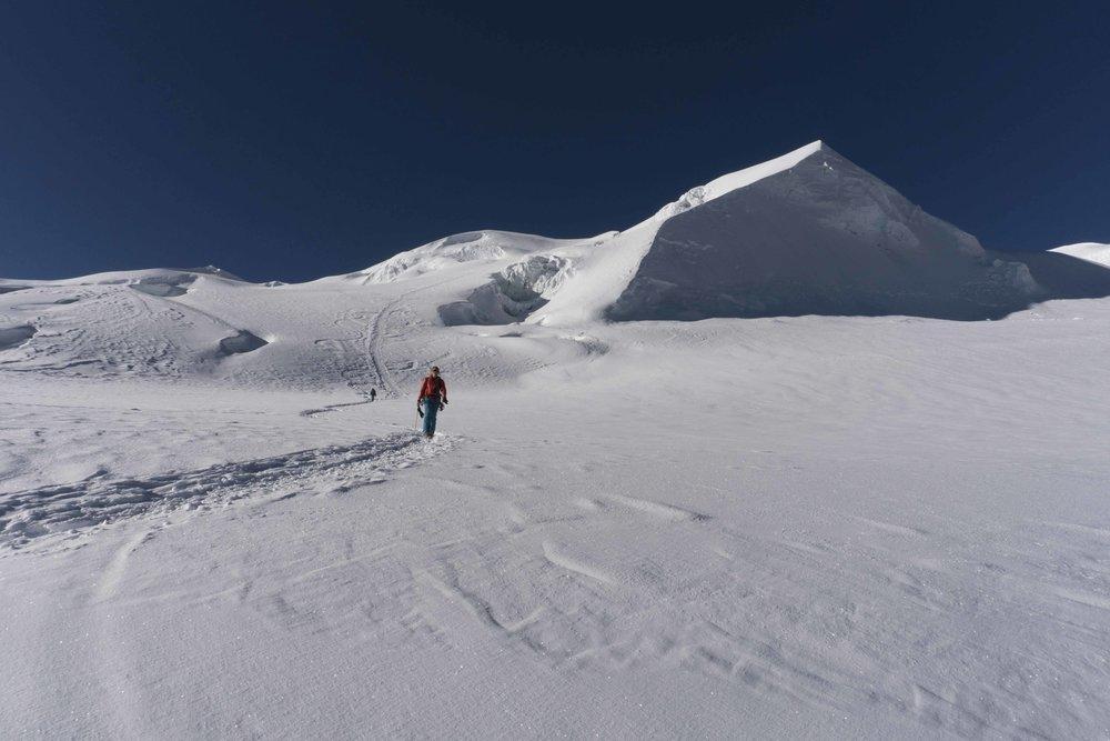 Me descending above Mera Peak high camp after a successful summit. Photo credit @tarebear22