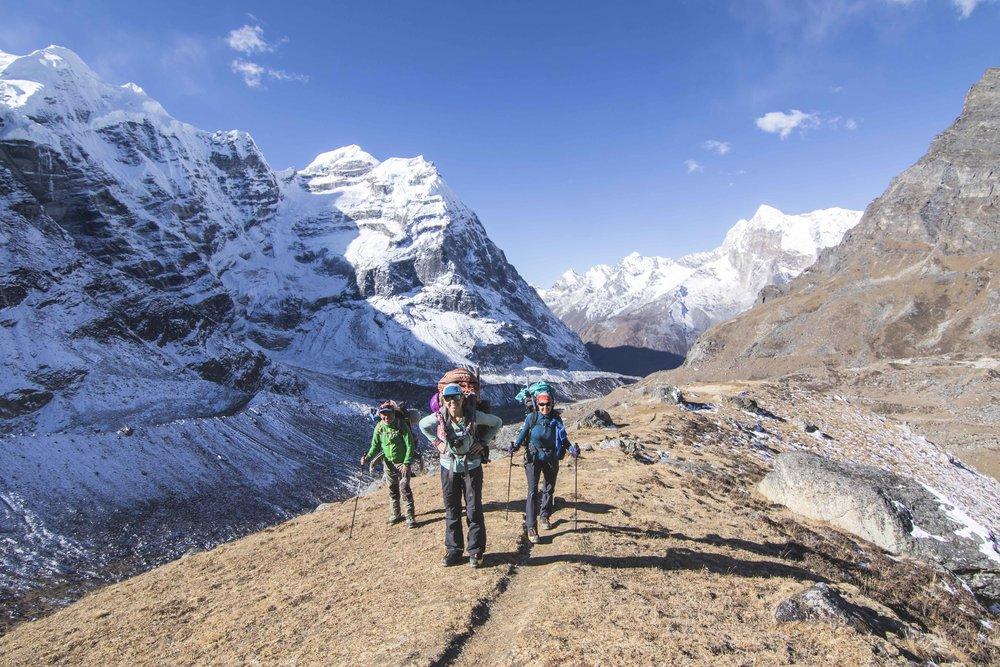 @mountainkat10, @tarebear22 and Makalu Mingma trekking in Nepal, Mera Peak on the left.  My photo.