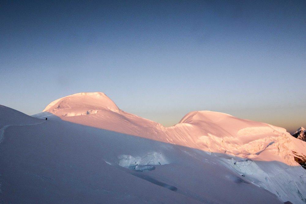 Sunrise on Mera Peak. @tarebear22 and Makalu Minga in the distance.  My photo.