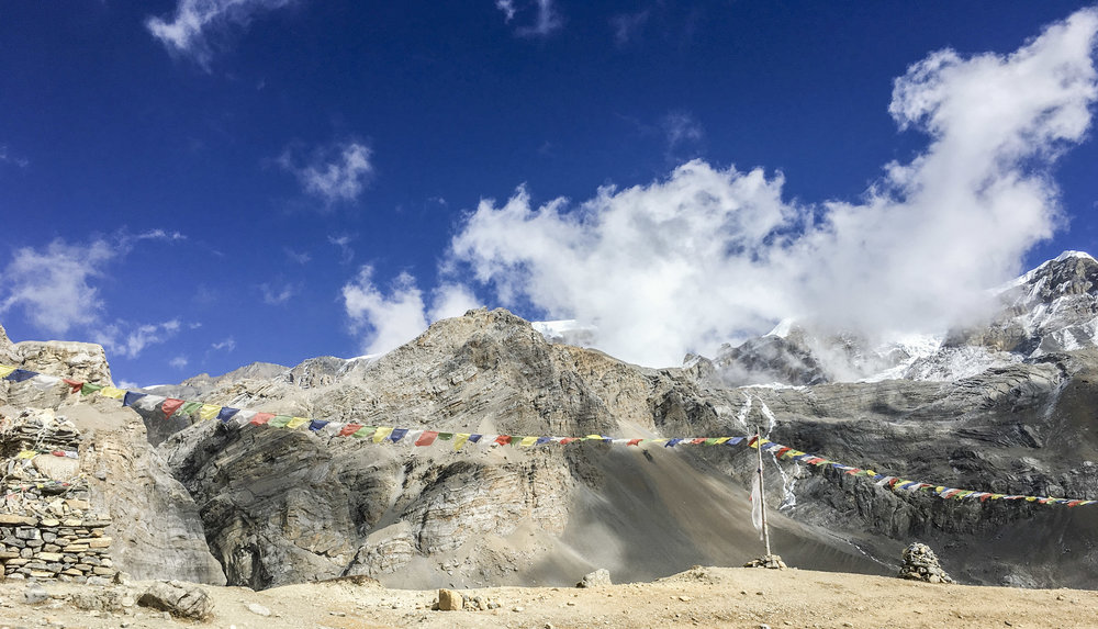 2,000ft below Thorong La Pass and glorious weather