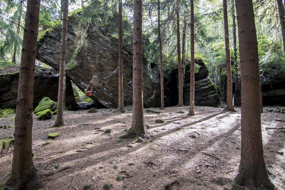 @sstroeer bouldering at Schlachthaus Block in Germany's Elbsandstein. PC Walter Stroeer #mountainhardwear #chasingsunshine #heyflashfoxy #womenwhoclimb #sisugirls #youradventure