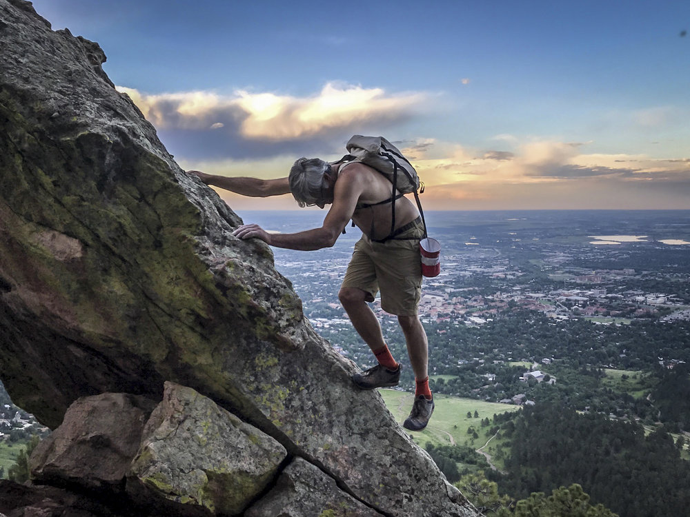 A conjugal scramble in the Flatirons above Boulder