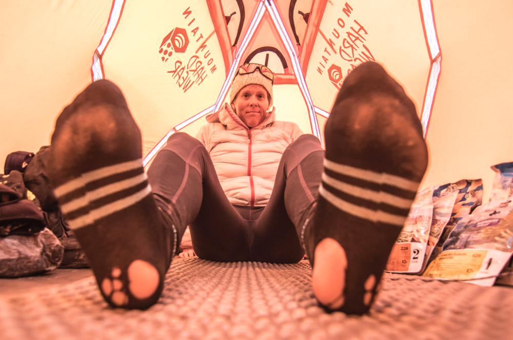 In the tent on Aconcagua while preparing the 360 speed mission