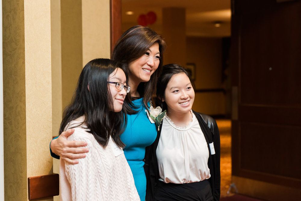 Angela and Jolie with Juju Chang at the 2017 Scholar Celebration