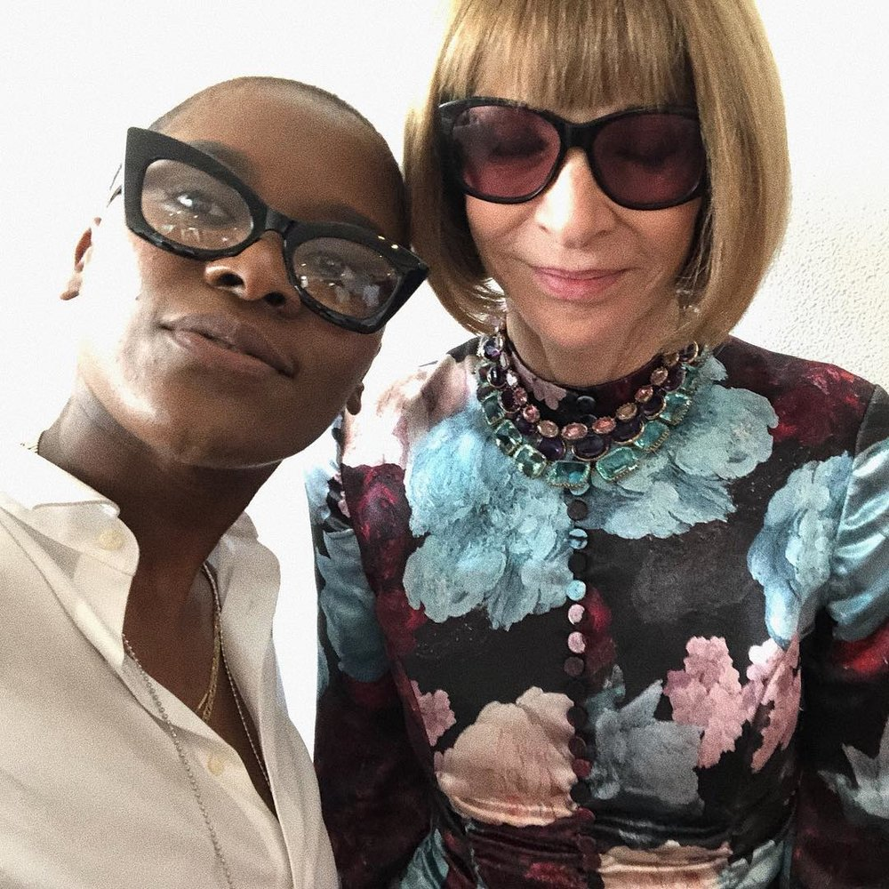 Here's a photo of Troy Scholar Cassandra Pintro and fashion legend Anna Wintour. Cassandra refined her career goals thanks to work with her mentor, and experiences throughout high school and college. She will complete a bachelors degree in Fashion Merchandising in December of 2018 from Marist College.