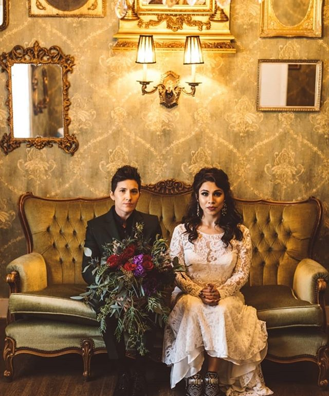These two... One year.. Happy anniversary! 🖤🖤🖤🖤🖤🖤 Michelle + Brooke  #hairofthebride • • • • #longbeachwedding #ebell #hairandmakeup #weddinghairinspo #weddingphotos #brideandbride #goth #ethereal #etherealbridal #lacedress #organichairstylist #hairthatlasts #nontoxicbeauty #greenbride #nontoxichair #organic #ochairstylist #ocweddings #bridalhair #hairinspo #bridal #weddinghair  #burgogoesbrigham #rocknrollbridemagazine