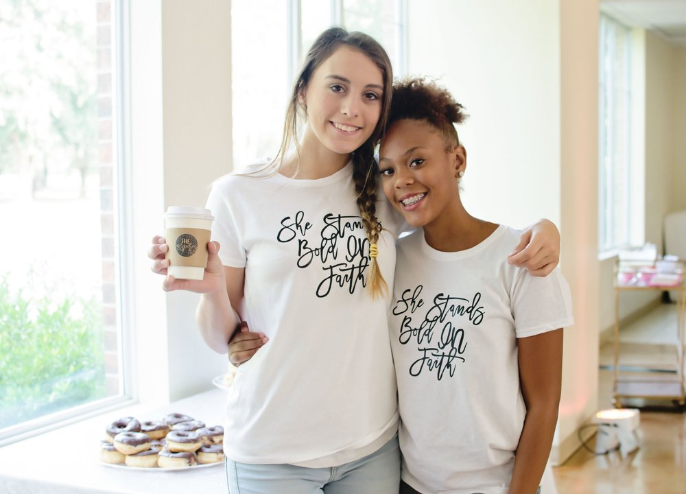 My niece and her best friend were great helpers for the morning, they even rocked our She Stands Bold T's, which will be available in the shop next month.