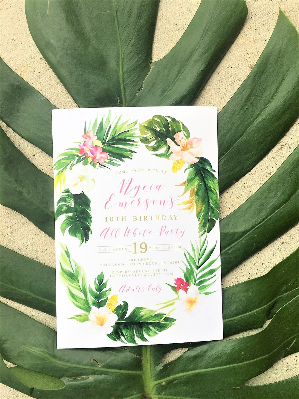 It started with the tropical invite that my friend found on etsy!! Introducing the all white affair in a colorful tropical way!