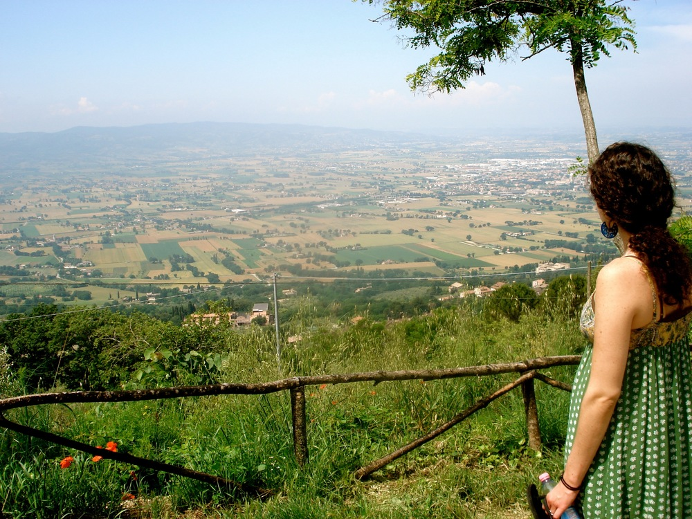My lovely sister, enjoying the beauty of the Italian countryside on our way up to St. Francis' hermitage.