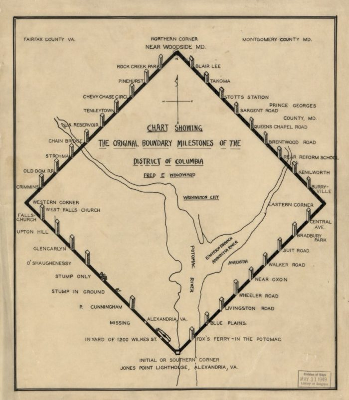 Map from 1906 shows the location of boundary stones every mile along the perimeter of the District of Columbia.
