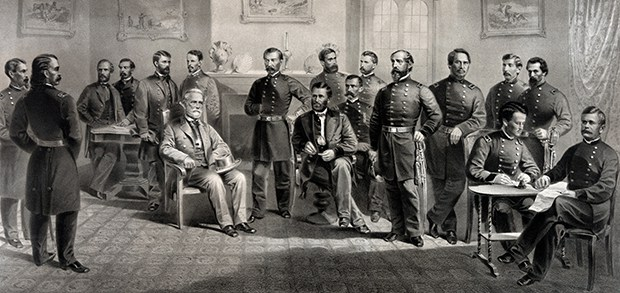 Robert E. Lee met with Ulysses S. Grant to sign the surrender. McLean's home was ransacked afterward by Union officers, some of whom simply threw money at him.
