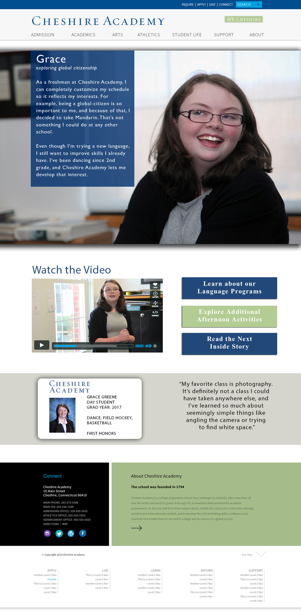 """Caption: This is one of our redesigned internal pages. We heard from families that they loved """"The Inside Story"""" viewbook insert with profiles of current students. We used that information to replicate The Inside Story on the web, creating dynamic profile pages with video, quotes, and links."""