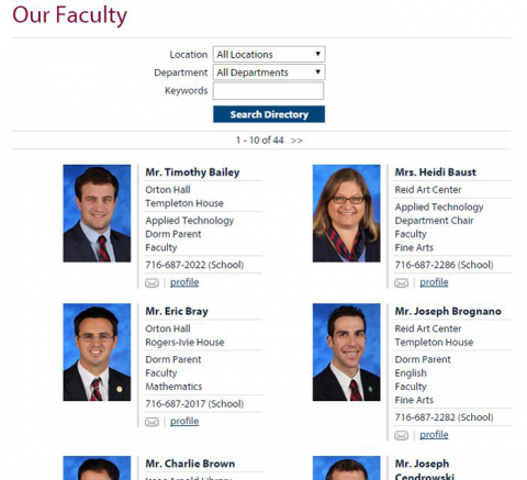 Gow faculty profiles, before.