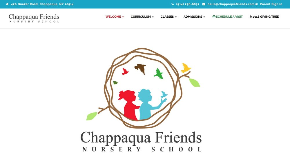 Chappaqua Friends website redesign and brilliance awards gold winner