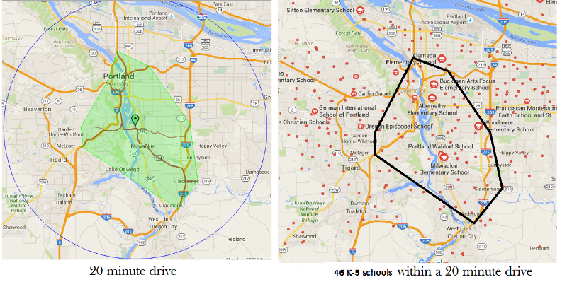 fig. 2. Map of potential Feeder Schools in a 20-minute driving radius from St. Agatha School in Portland, OR