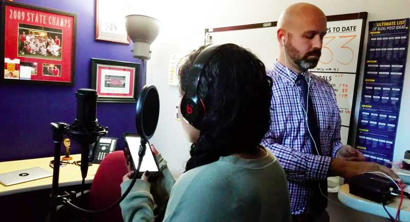 Rudi Gensch and Jaylyn Ocasio in a recording session