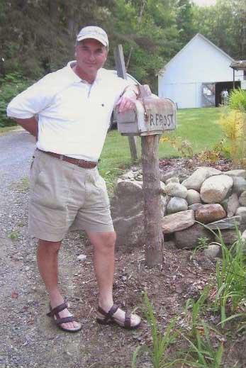 Pat posing with his favorite poet's mailbox.