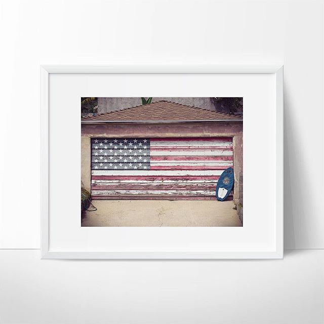 "Happy birthday 'Merica! 🇺🇸🍔 ""Surf Nation"" print available in our shop now for just $25! #4thofjulyweekend #4thofjuly #surfphotography #malibubeach #americanflag"