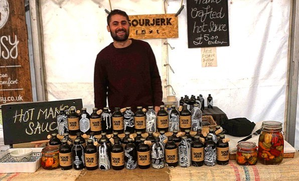 Look how happy Charlie looks with his bottles.  Thanks for having us @barnesfoodfair.  #london #artisan #hotsauce #spicy #local #barnes #chiswick #uk #homemade #artists #handpainted #art #artwork #smallbatch #scotchbonnet #vsco #instagood #instaart #smallbusinessowner #fun