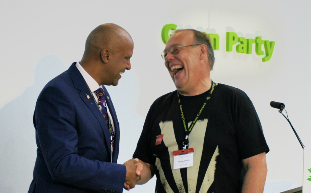 No hard feelings. Former Deputy Will Duckworth handing over the baton to Shahrar Ali, who narrowly beat him as male Deputy. Photo: Vicky Duckworth