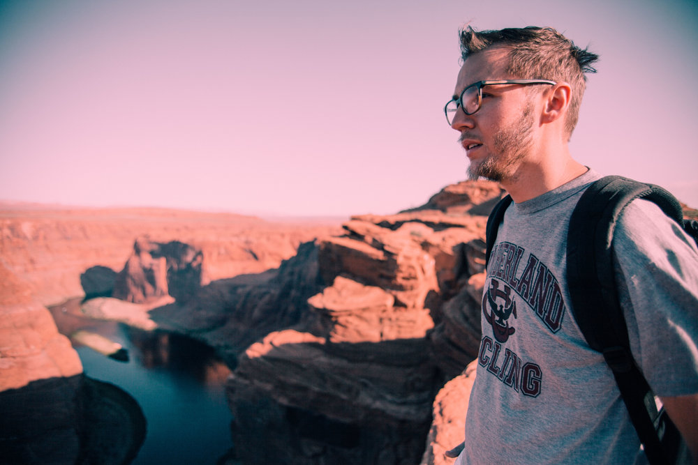 this was at Horseshoe Bend in Page, AZ. Apparently, sunset was the better time to go for pictures, and we went at sunrise. It was really hard to get good exposure of the actual landscape. But here's Scott to prove we actually went haha