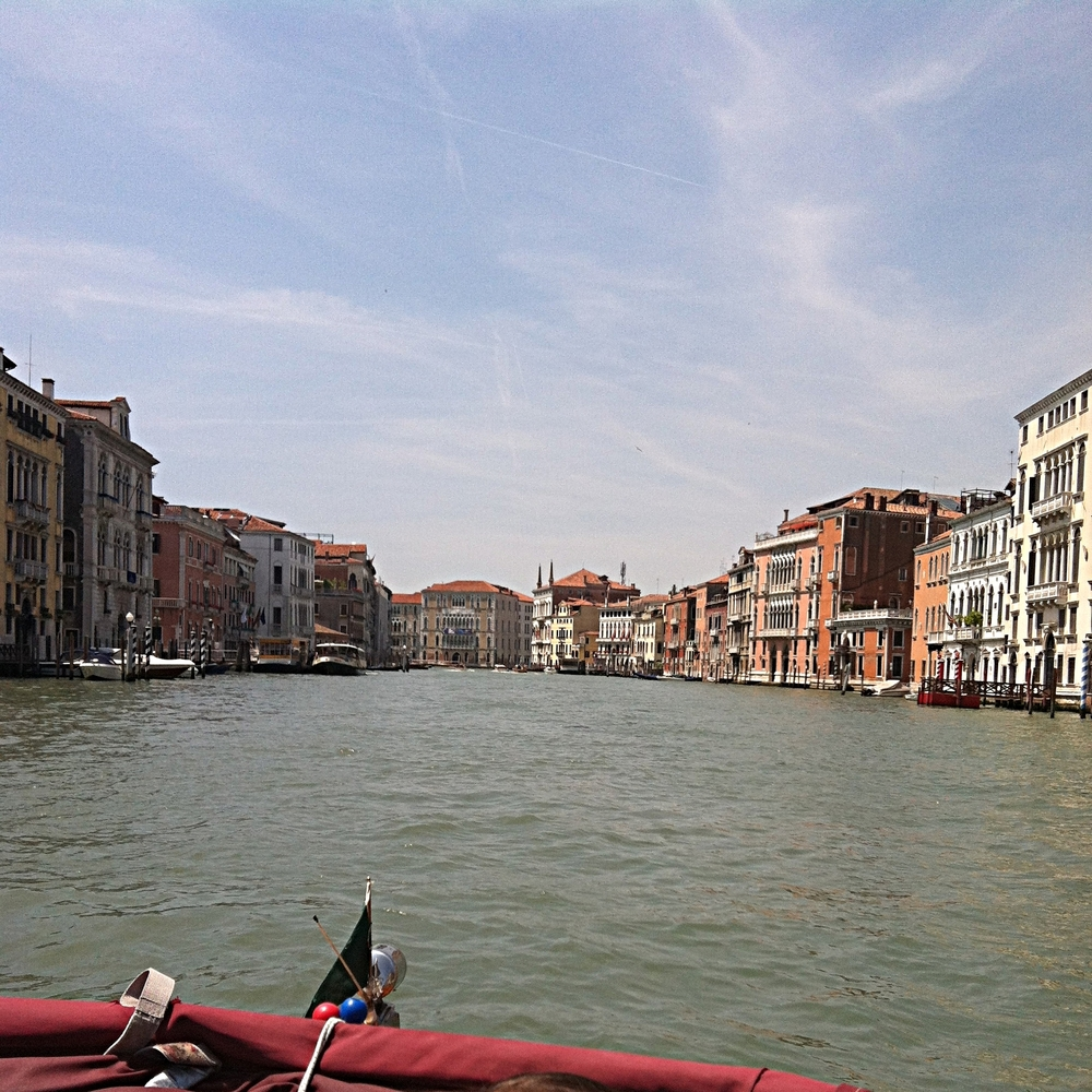 On the water-taxi through the Grand Canal.