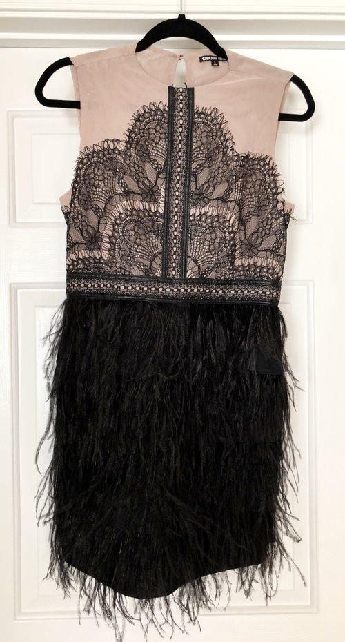 Gianni Bini Authentic Ostrich Feather Dress B Monet