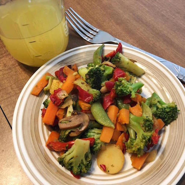 tonight's dinner (veggie stir fry & chicken broth) along with a healthy vanilla shake