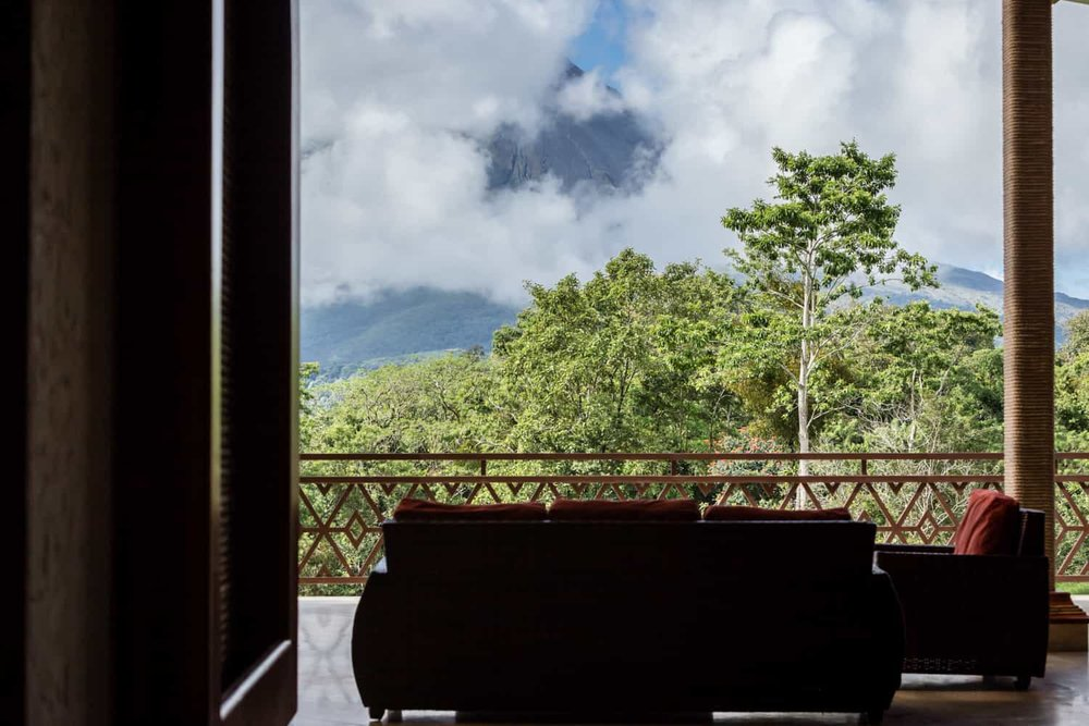 Photo of the terrace for wedding ceremonies with view of Arenal Volcano.