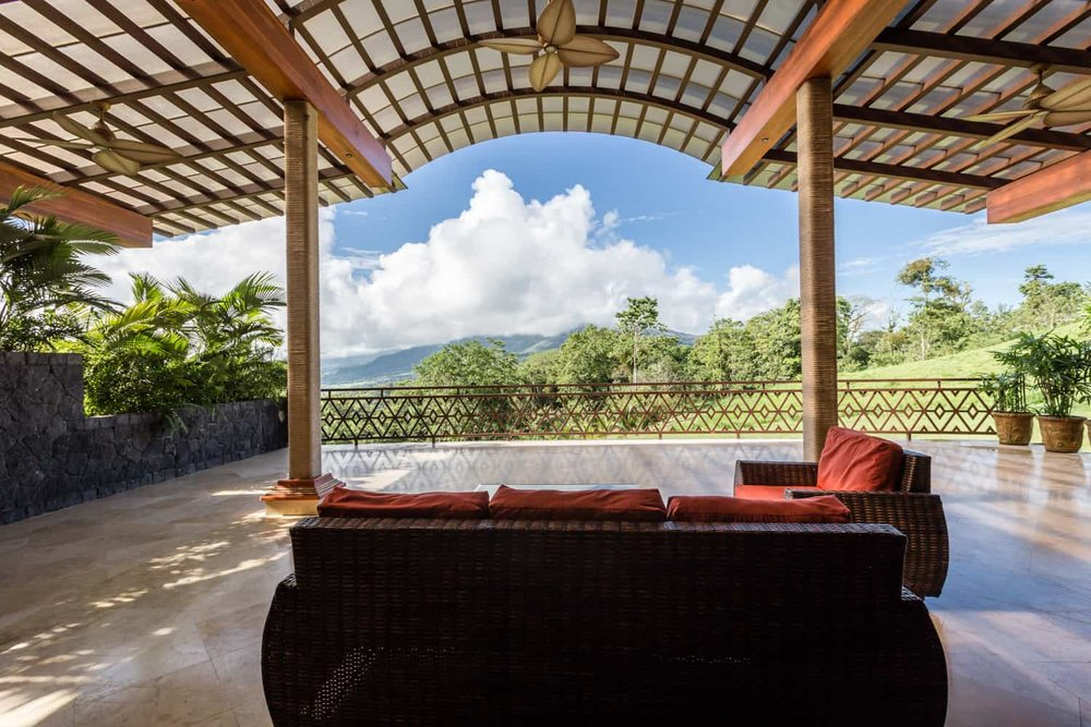 The Aracari terrace where wedding ceremonies are held at The Springs Resort, Arenal.