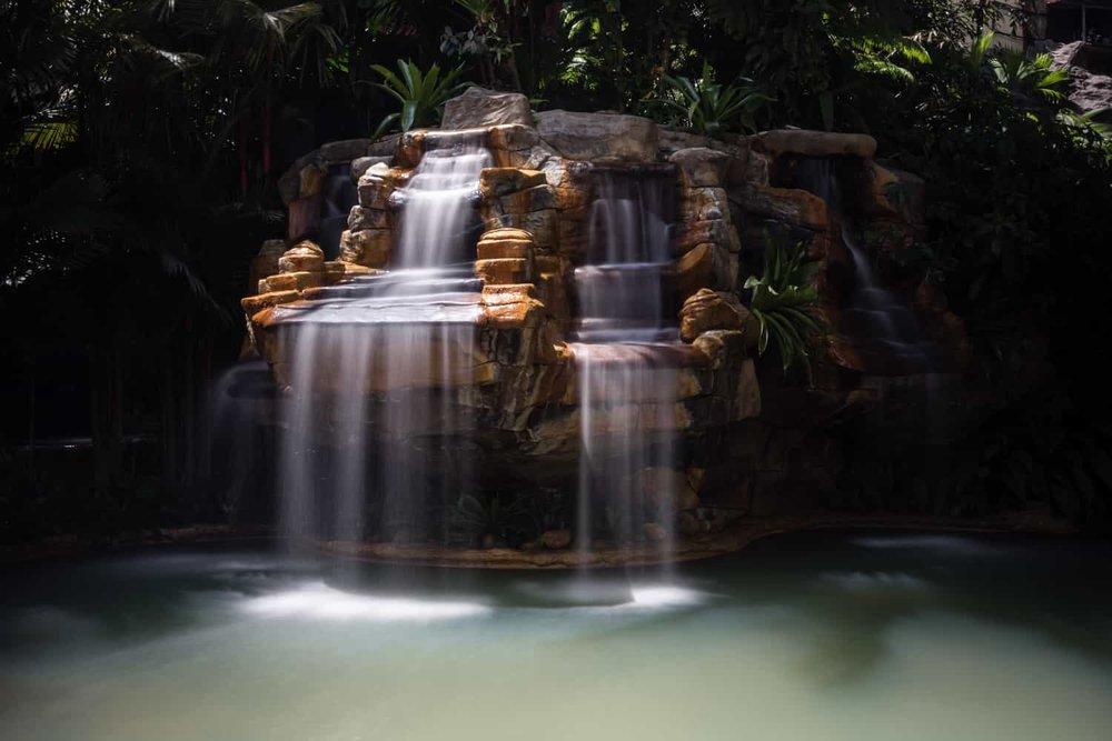 Waterfall at Treetops main thermal pool.