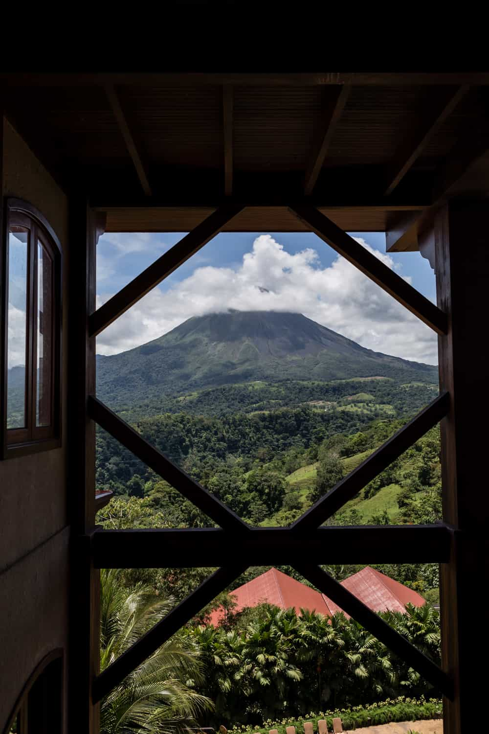 View from The Springs Reception Building of Arenal Volcano.