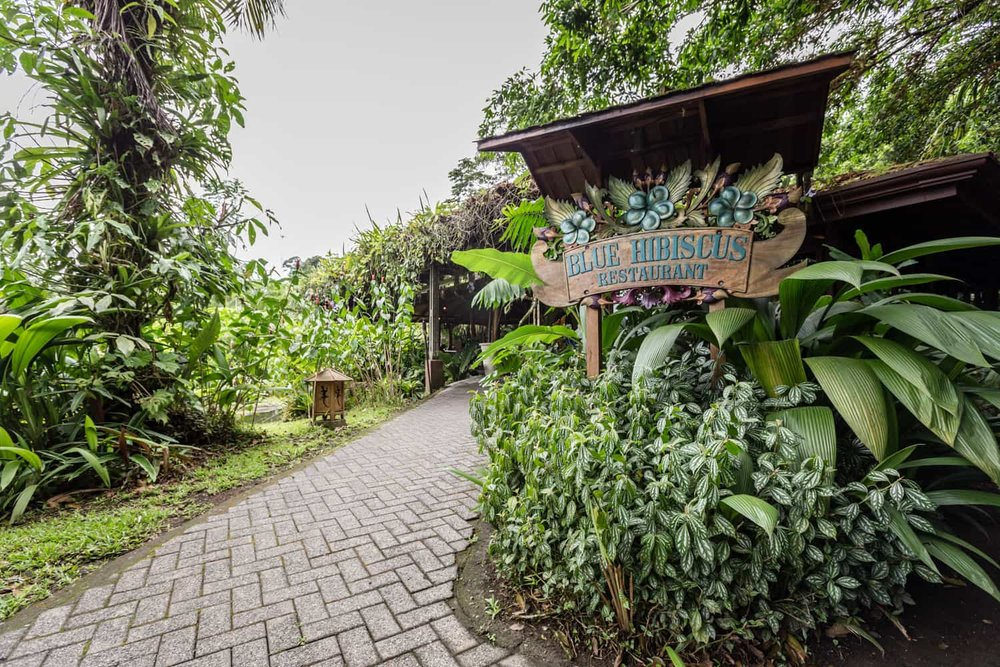 Entrance to restaurant for wedding reception in La Fortuna.