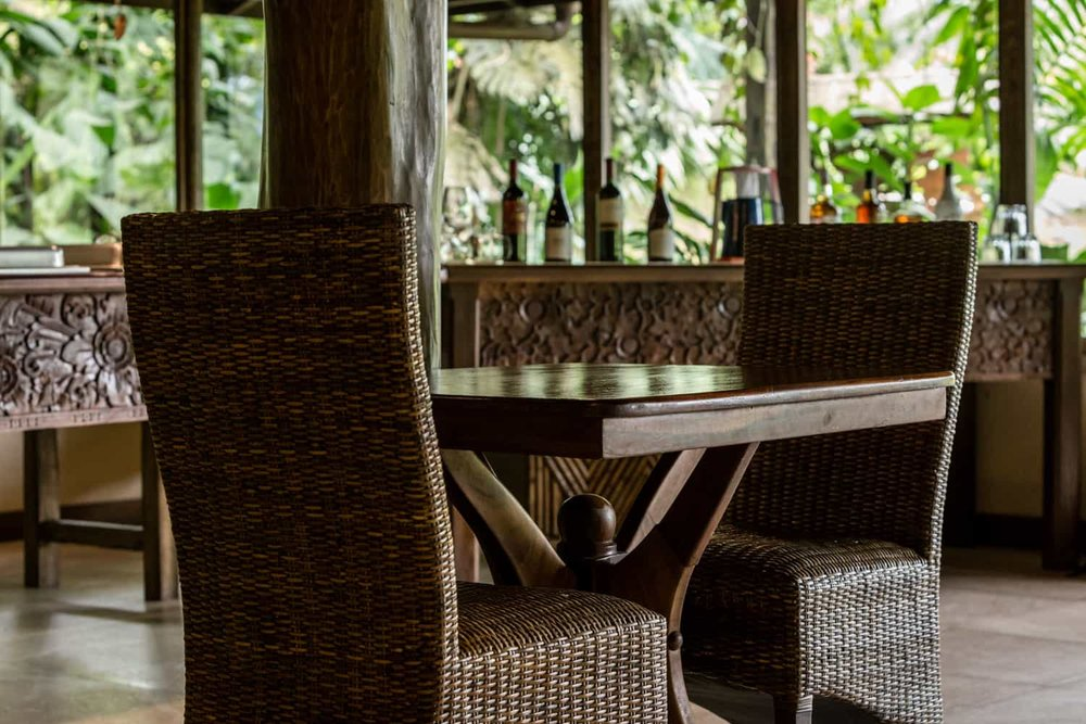 Table for two in restaurant in rainforest for wedding couple.