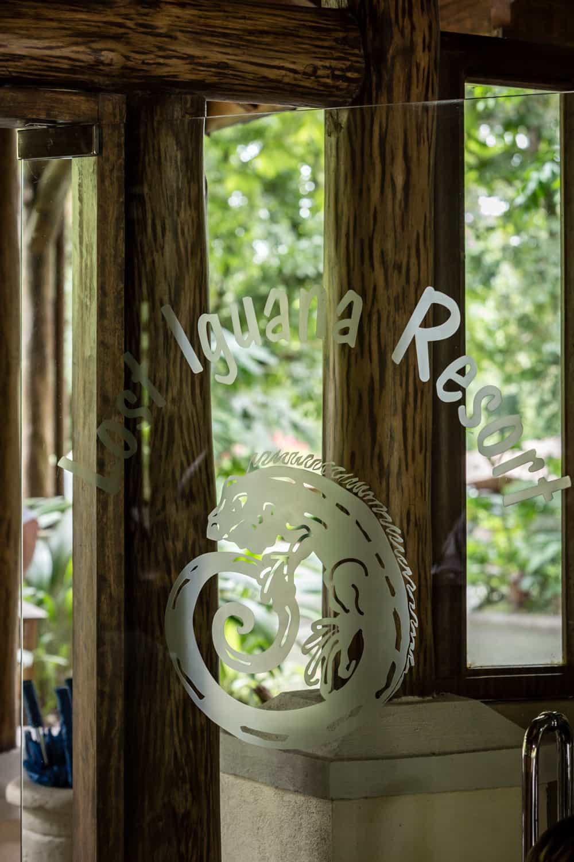 Front door of Lost Iguana Resort & Spa reception building.