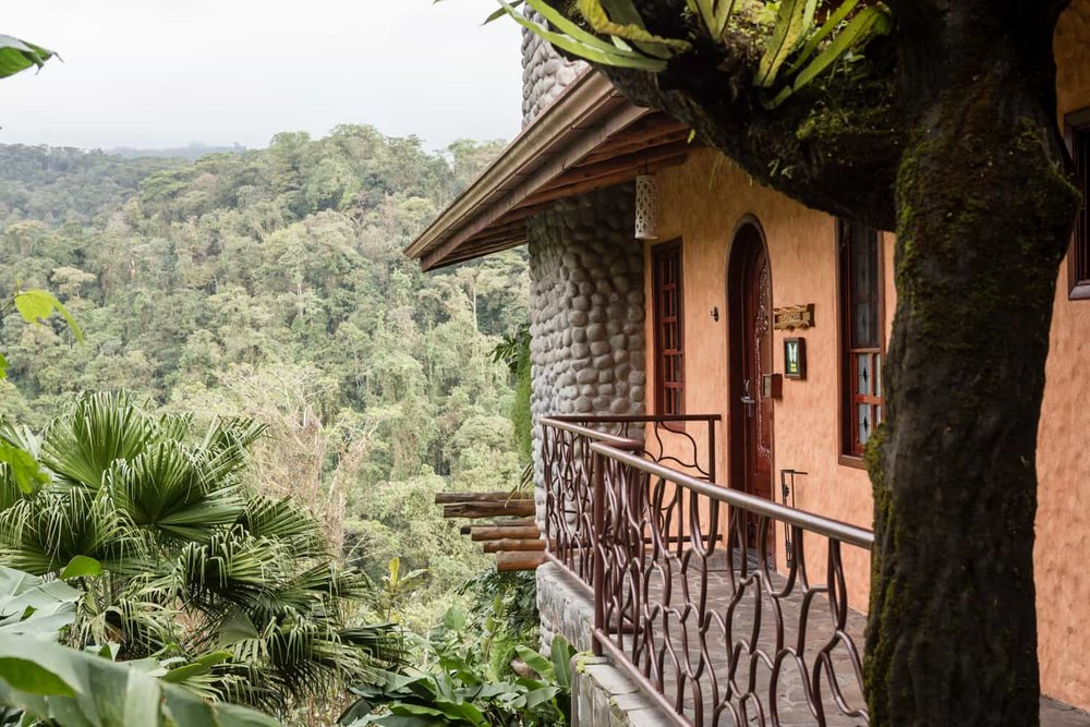 Peace Lodge Honeymoon suite entrance balcony with view of cloud forest.
