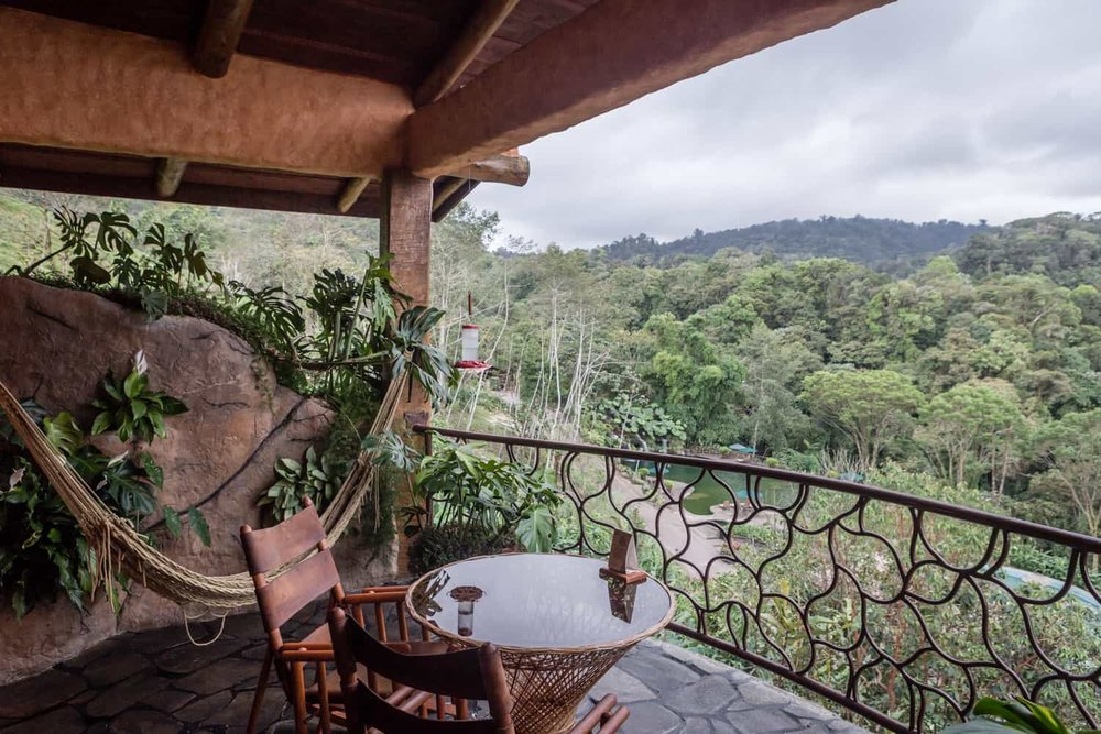 Honeymoon suite balcony view of Poas cloud forest at Peace Lodge.