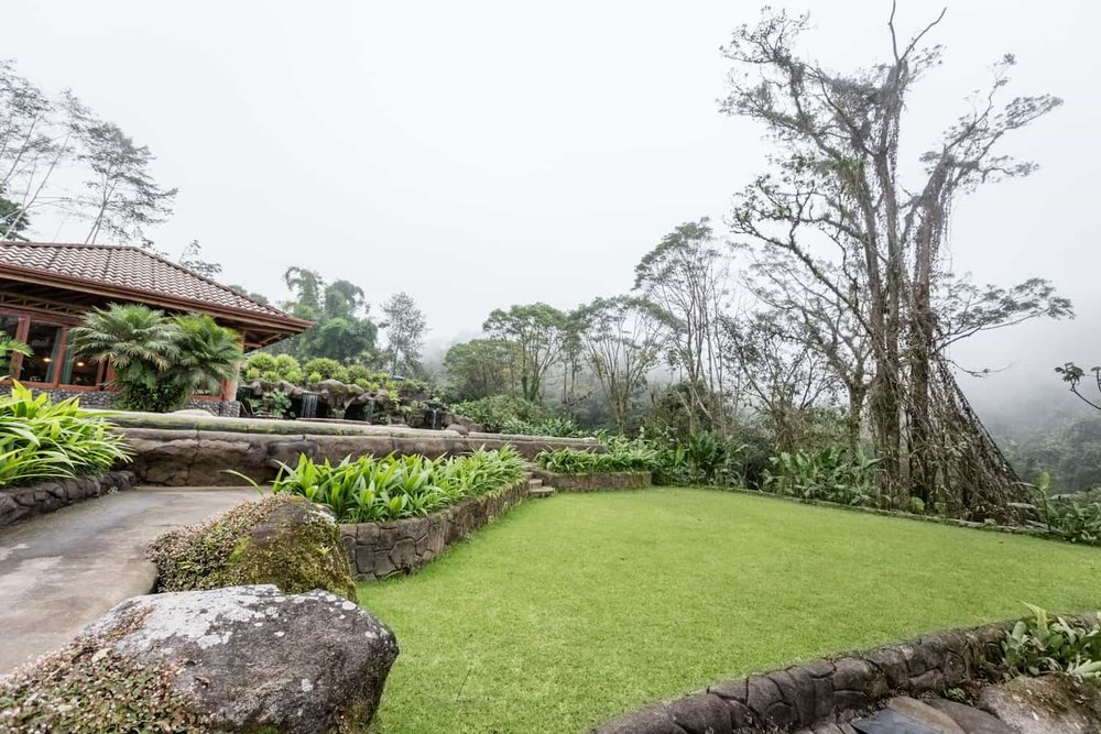 View of wedding venue location at Peace Lodge in Costa Rica cloud forest.