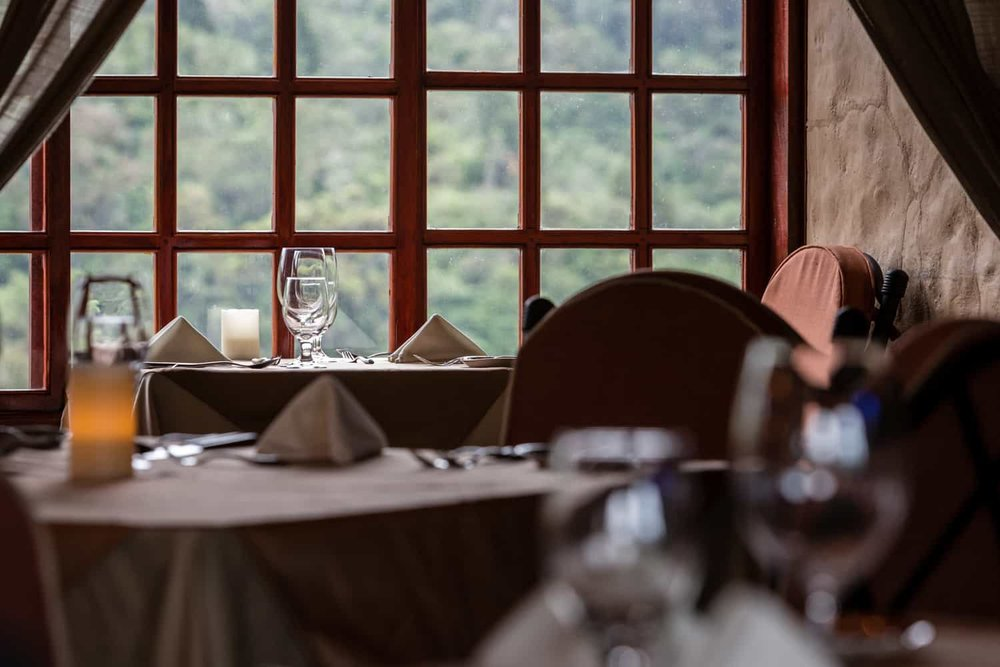 Romantic dinner setting for couple having destination wedding at Peace Lodge.