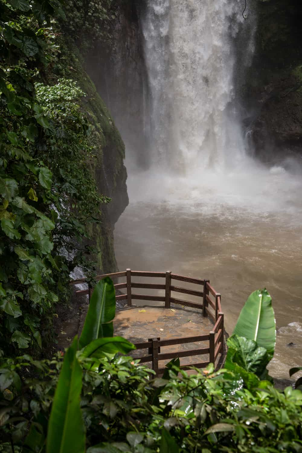 Close-up of Magia Blanca platform from gazebo for waterfall wedding in Costa Rica.
