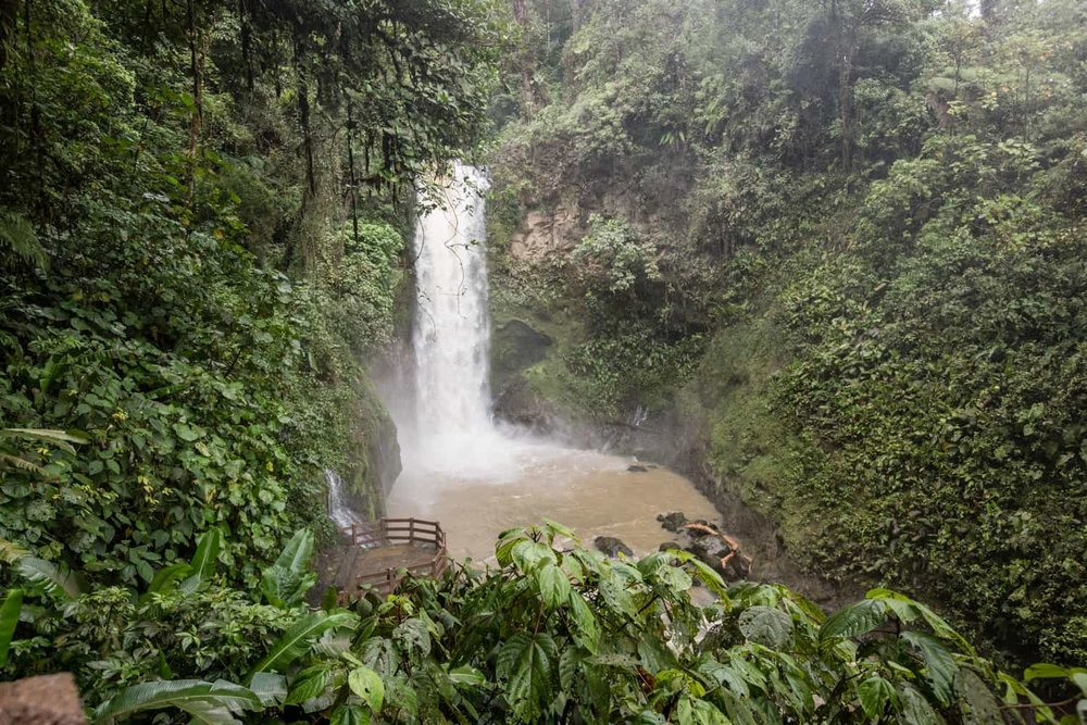 Panoramic view of Magia Blanca Waterfall and lower wedding terrace from gazebo.