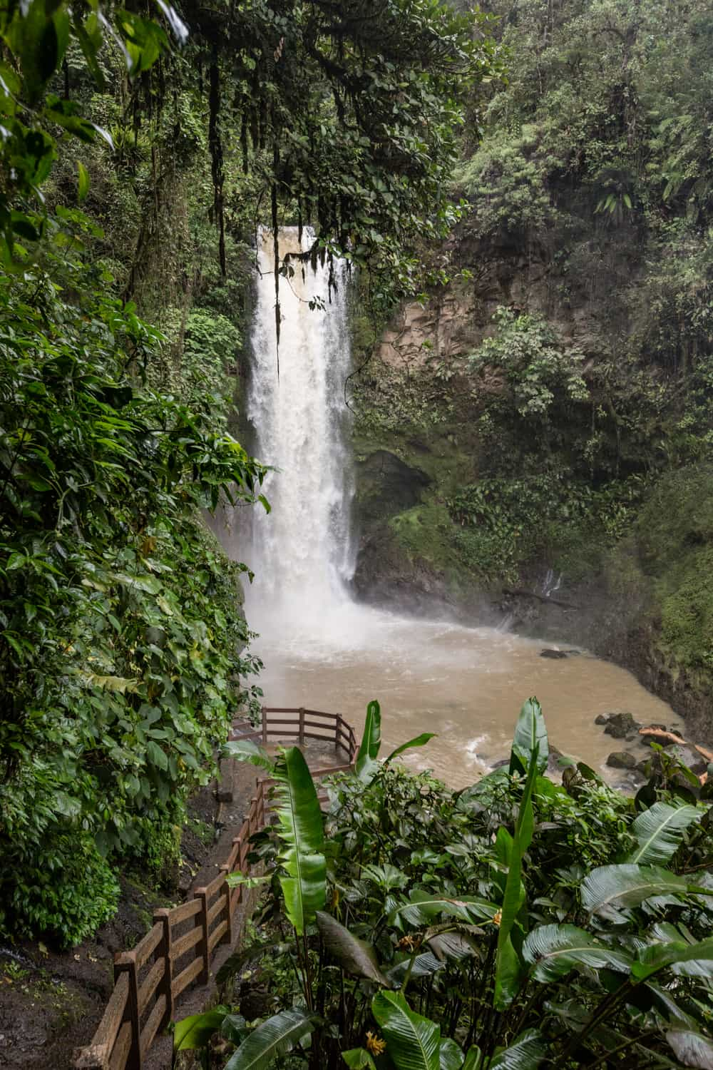 View of Waterfall Platform for elopements and weddings at La Paz Waterfall Gardens.