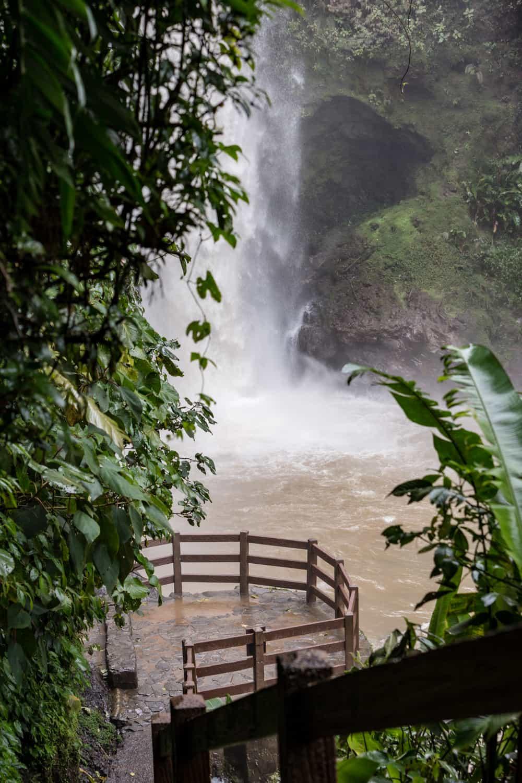 La Paz Gardens waterfall wedding ceremony platform in cloud forest.
