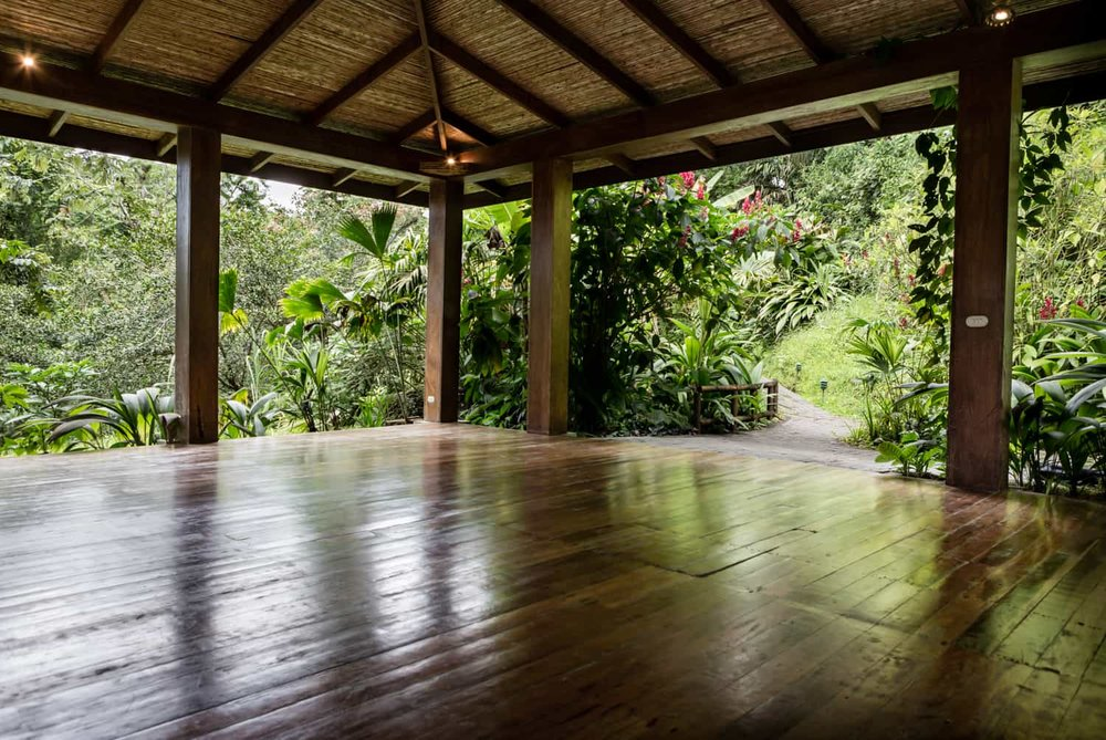 Beautiful wood pavilion and floors in rainforest as great place to tie the knot.
