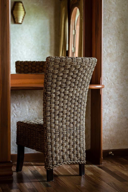 Elegant vanity chair to prepare for wedding.